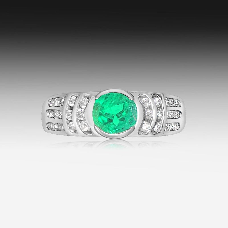 18kt White Gold Emerald and Diamond ring - Masterpiece Jewellery Opal & Gems Sydney Australia | Online Shop