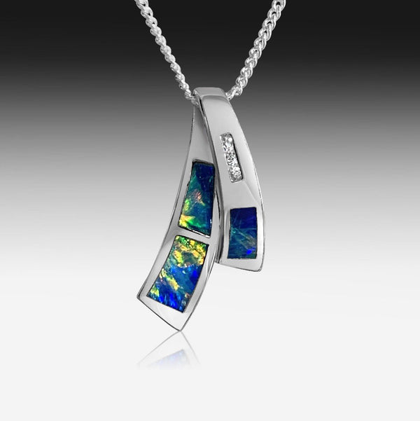14kt White Gold Cross over Opal inlay pendant - Masterpiece Jewellery Opal & Gems Sydney Australia | Online Shop