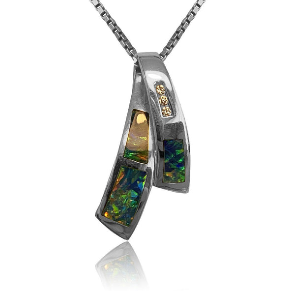 14kt White Gold cross over Opal and Diamond pendant - Masterpiece Jewellery Opal & Gems Sydney Australia | Online Shop