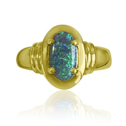 18kt Yellow Gold Black Opal ring - Masterpiece Jewellery Opal & Gems Sydney Australia | Online Shop