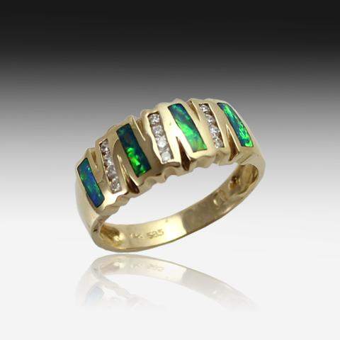 14kt Yellow Gold Opal Inlay 4 row and diamond ring - Masterpiece Jewellery Opal & Gems Sydney Australia | Online Shop