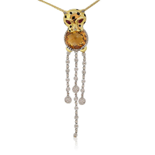 18kt Yellow Gold Citrine Diamond Ruby Leopard pendant