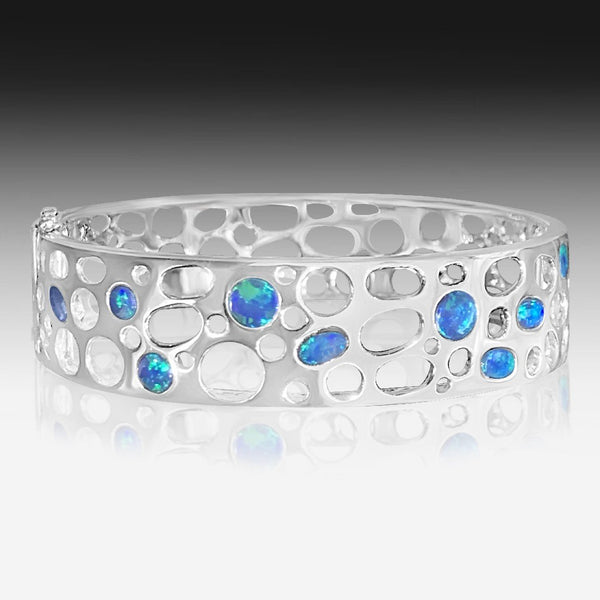 Sterling Silver Bangle with Opals - Masterpiece Jewellery Opal & Gems Sydney Australia | Online Shop