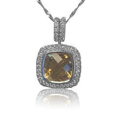 18kt White Gold Citrine 4.6ct and Diamond pendant - Masterpiece Jewellery Opal & Gems Sydney Australia | Online Shop