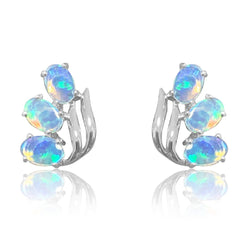 14kt White Gold 6 Opal earrings - Masterpiece Jewellery Opal & Gems Sydney Australia | Online Shop