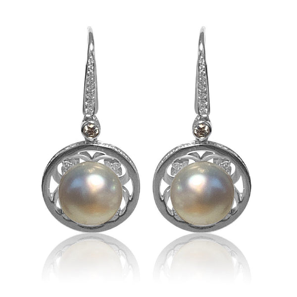 18kt White Gold South Sea Pearl and diamond earrings - Masterpiece Jewellery Opal & Gems Sydney Australia | Online Shop