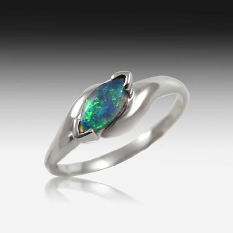 14kt Yellow Gold Marquise cut Opal ring - Masterpiece Jewellery Opal & Gems Sydney Australia | Online Shop
