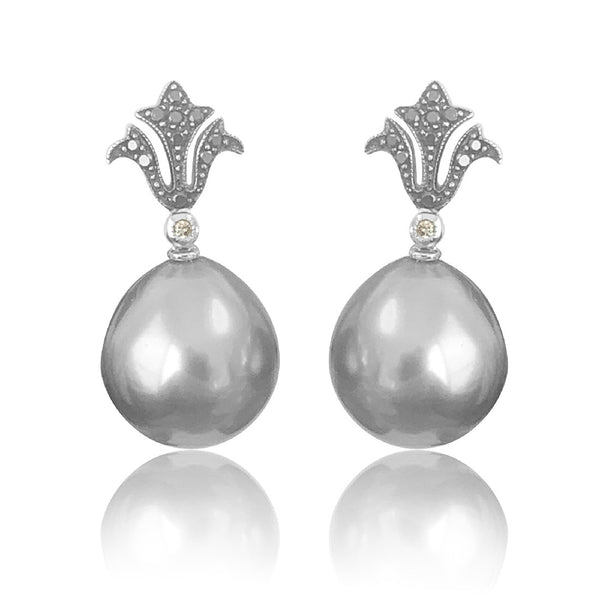 18kt White Gold Pearls and Diamond earrings - Masterpiece Jewellery Opal & Gems Sydney Australia | Online Shop