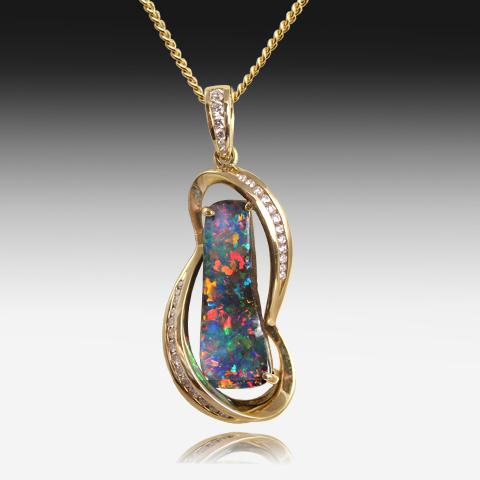 18kt Gold Boulder Opal and Diamond pendant - Masterpiece Jewellery Opal & Gems Sydney Australia | Online Shop