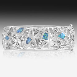 Sterling Silver Opal Inlay bangle - Masterpiece Jewellery Opal & Gems Sydney Australia | Online Shop