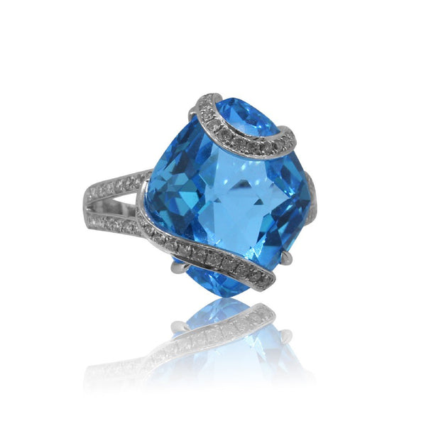 18kt White Gold Blue Topaz and Diamond ring - Masterpiece Jewellery Opal & Gems Sydney Australia | Online Shop