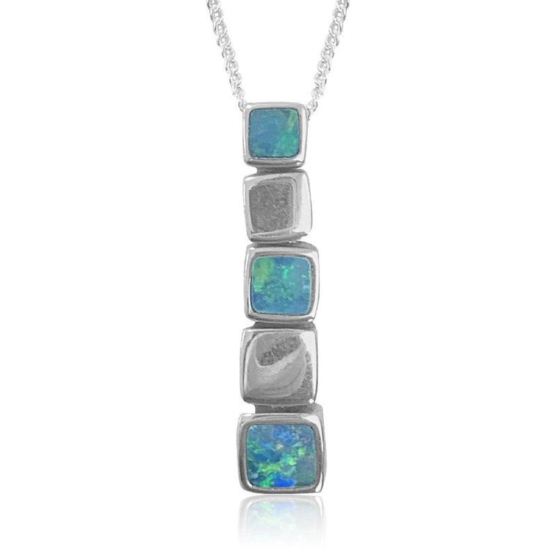Sterling Silver drop 5 box Opal pendant - Masterpiece Jewellery Opal & Gems Sydney Australia | Online Shop