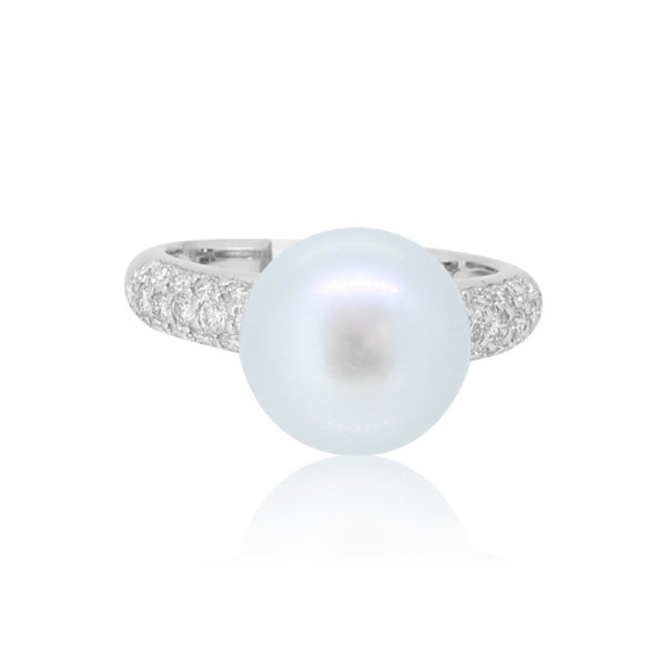 18kt White Gold South Sea Pearls and Diamond ring - Masterpiece Jewellery Opal & Gems Sydney Australia | Online Shop