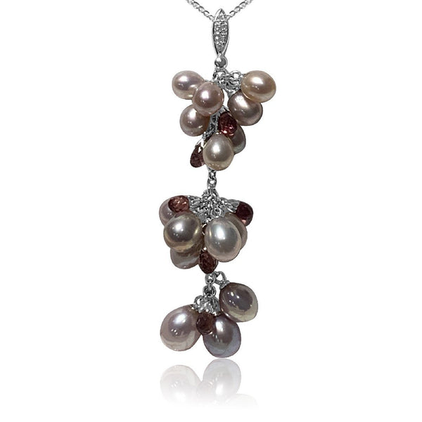 18kt White Gold Tourmaline Pearl and diamond pendant - Masterpiece Jewellery Opal & Gems Sydney Australia | Online Shop