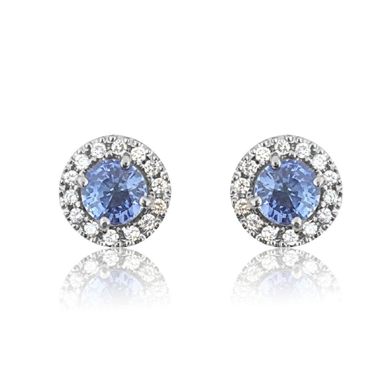 18kt White Gold cluster studs with blue sapphires - Masterpiece Jewellery Opal & Gems Sydney Australia | Online Shop