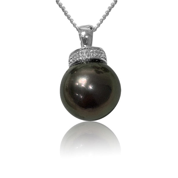 18kt White Gold Black Pearl and Diamond pendant - Masterpiece Jewellery Opal & Gems Sydney Australia | Online Shop