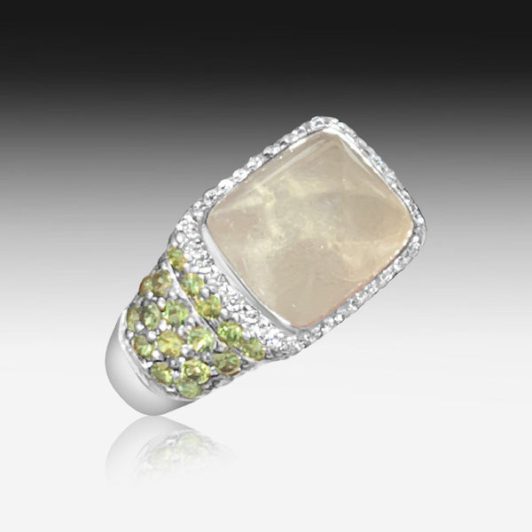 18kt Lemon Quartz, Sapphire and Diamond ring - Masterpiece Jewellery Opal & Gems Sydney Australia | Online Shop
