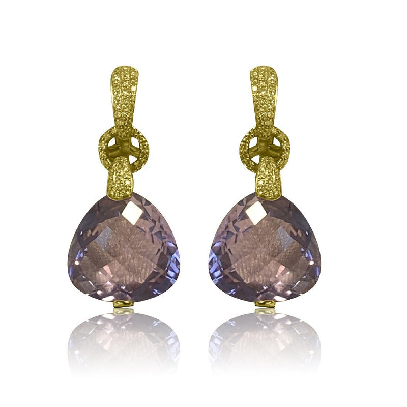 18kt Yellow Gold Amethyst and Diamond earrings - Masterpiece Jewellery Opal & Gems Sydney Australia | Online Shop