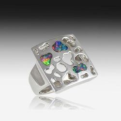 SILVER OPAL INLAY SQUARE RING - Masterpiece Jewellery Opal & Gems Sydney Australia | Online Shop