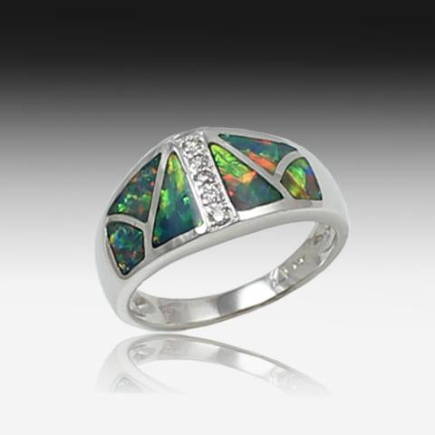 14kt White Gold Opal inlay and Diamond ring - Masterpiece Jewellery Opal & Gems Sydney Australia | Online Shop
