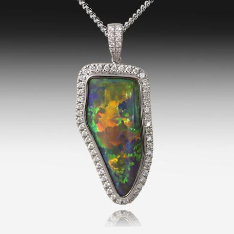 ONE 18K BLACK OPAL DIAMOND PENDANT - Masterpiece Jewellery Opal & Gems Sydney Australia | Online Shop
