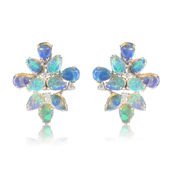 18kt White Gold Opal & Diamond Flower style earrings - Masterpiece Jewellery Opal & Gems Sydney Australia | Online Shop