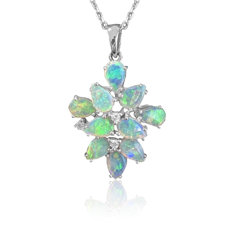 18kt White Gold Opal and Diamond pendant - Masterpiece Jewellery Opal & Gems Sydney Australia | Online Shop
