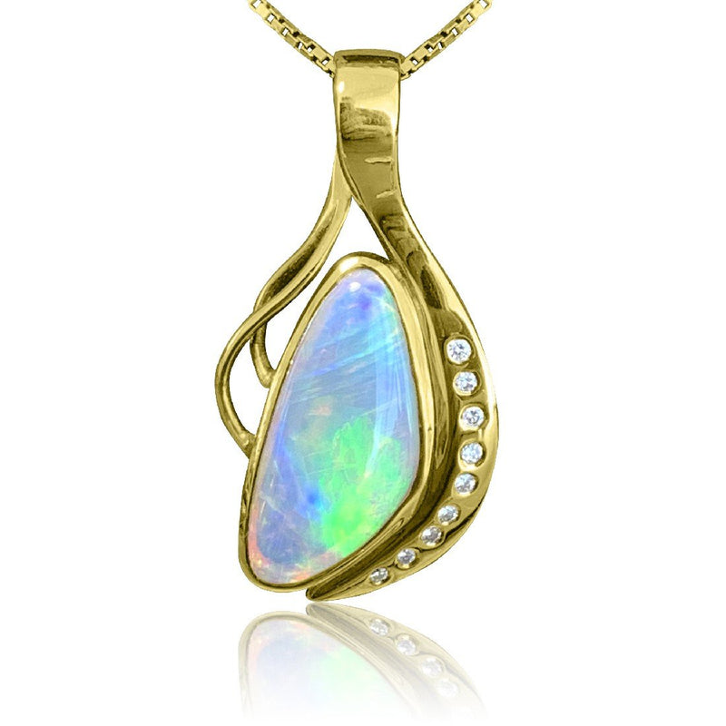 18kt Yellow Gold Crystal Opal and Diamond pendant - Masterpiece Jewellery Opal & Gems Sydney Australia | Online Shop