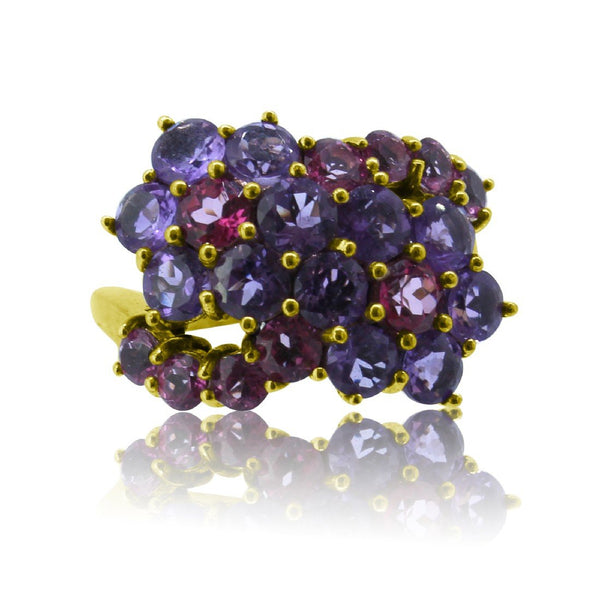 9kt Yellow Gold Amethyst and Pink Rhodelite ring - Masterpiece Jewellery Opal & Gems Sydney Australia | Online Shop