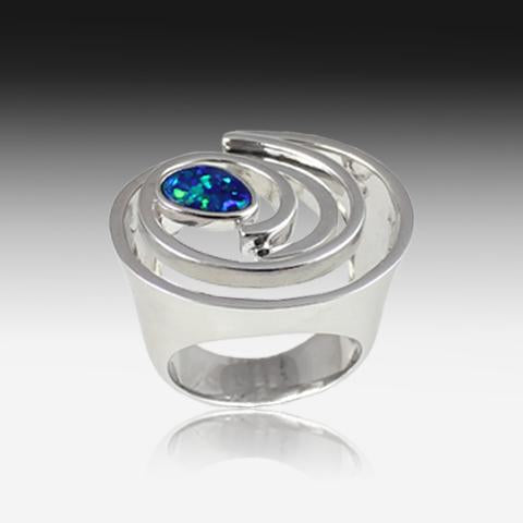 Silver Circle Opal Ring - Masterpiece Jewellery Opal & Gems Sydney Australia | Online Shop