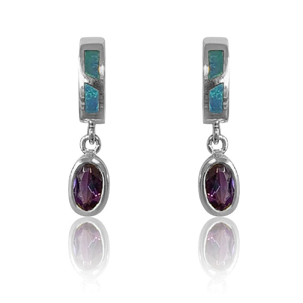 14kt White Gold Opal and Amethyst earrings