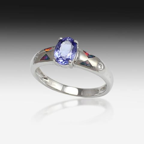 14kt White gold Tanzanite and Opal ring - Masterpiece Jewellery Opal & Gems Sydney Australia | Online Shop
