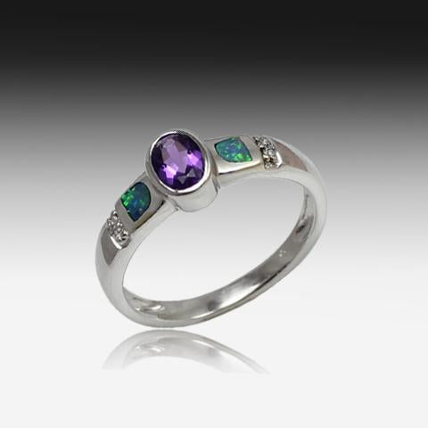 14kt White Gold Amethyst and Opal ring - Masterpiece Jewellery Opal & Gems Sydney Australia | Online Shop