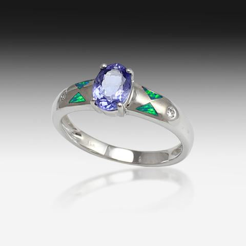 14kt White Gold ring with Tanzanite, Diamonds and Opal - Masterpiece Jewellery Opal & Gems Sydney Australia | Online Shop
