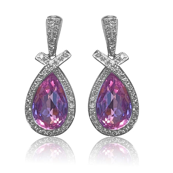 18kt White Gold pink sapphire and diamond earrings - Masterpiece Jewellery Opal & Gems Sydney Australia | Online Shop