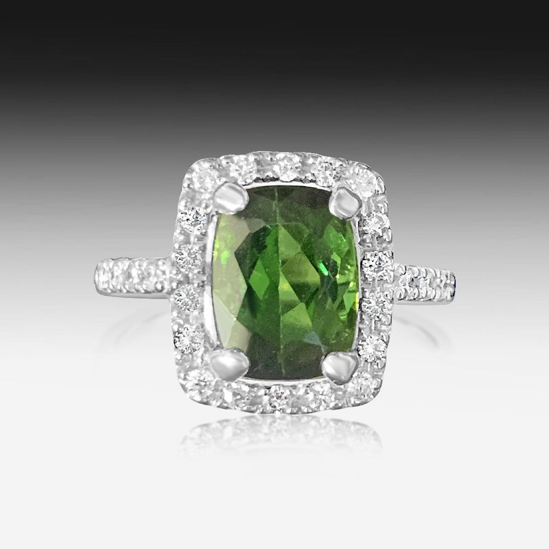 18kt White Gold Tourmaline and Diamond ring - Masterpiece Jewellery Opal & Gems Sydney Australia | Online Shop