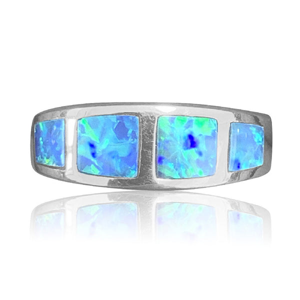 14kt White Gold Opal inlay rings - Masterpiece Jewellery Opal & Gems Sydney Australia | Online Shop