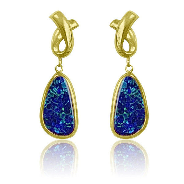 14kt Yellow Gold Blue Opal earrings - Masterpiece Jewellery Opal & Gems Sydney Australia | Online Shop