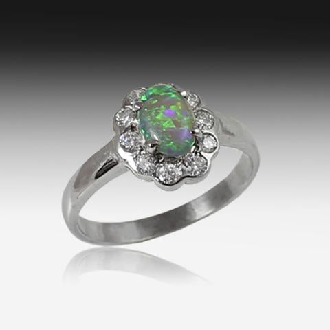 18kt White Gold Cluster Opal and Diamond ring