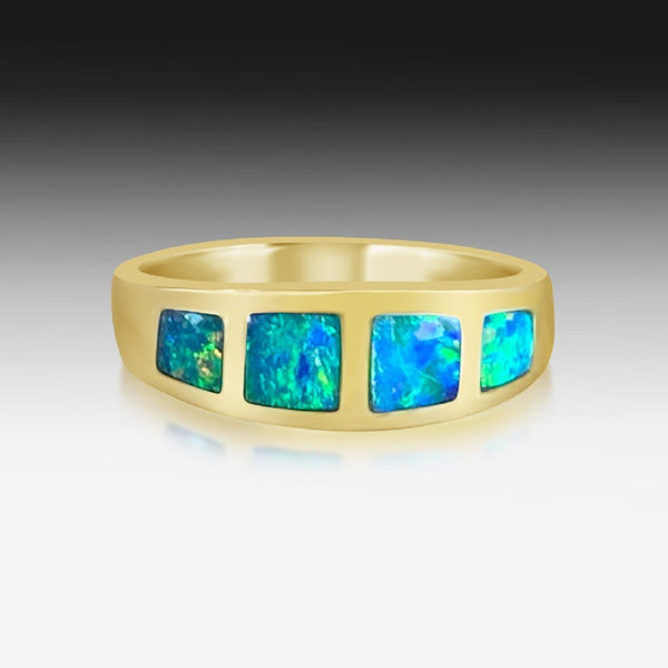 14kt Yellow Gold graduating Opal band - Masterpiece Jewellery Opal & Gems Sydney Australia | Online Shop