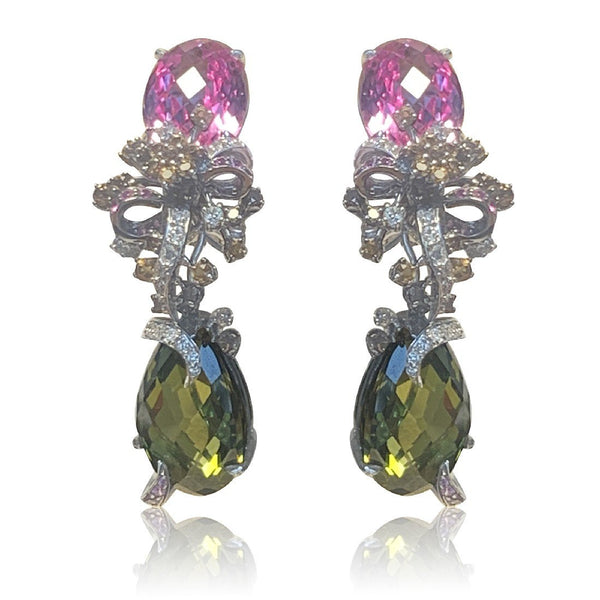 18kt White Gold Sapphire and Tourmaline earrings - Masterpiece Jewellery Opal & Gems Sydney Australia | Online Shop