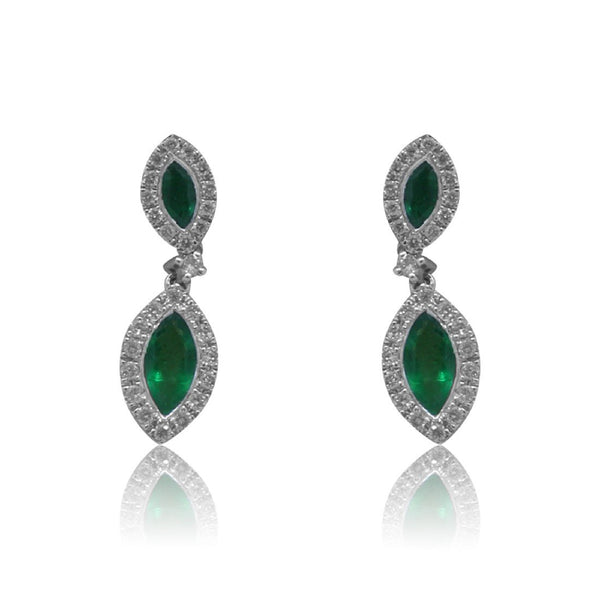 18kt White Gold Emerald and Diamond earrings - Masterpiece Jewellery Opal & Gems Sydney Australia | Online Shop