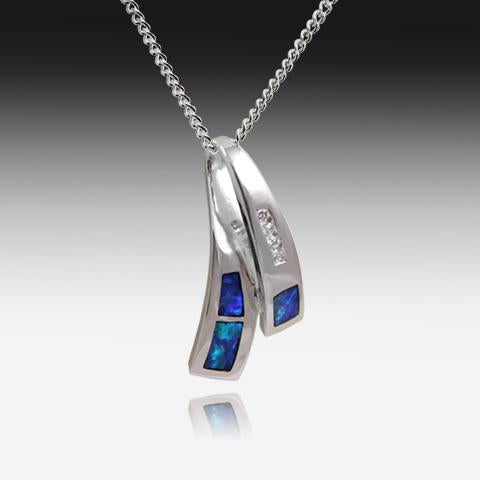 SILVER INLAY OPAL PENDANT