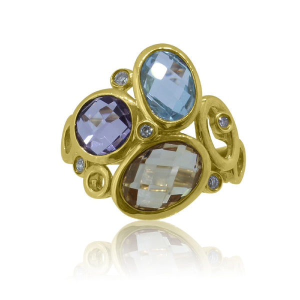 9kt Yellow Gold Multi colour Gem and Diamond ring - Masterpiece Jewellery Opal & Gems Sydney Australia | Online Shop