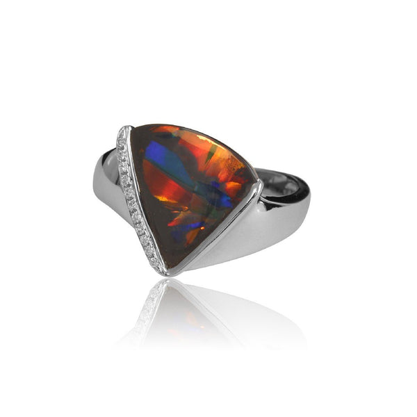 18kt White Gold Black Opal and Diamond ring - Masterpiece Jewellery Opal & Gems Sydney Australia | Online Shop