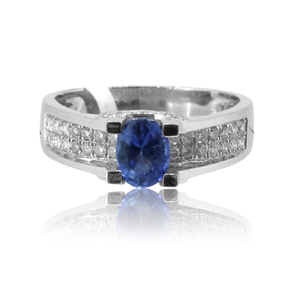 18kt White Gold Sapphire and Diamond ring - Masterpiece Jewellery Opal & Gems Sydney Australia | Online Shop