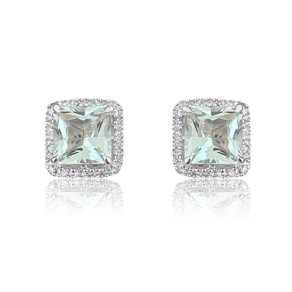 14kt White Gold Green Amethyst and Diamonds cluster earrings - Masterpiece Jewellery Opal & Gems Sydney Australia | Online Shop