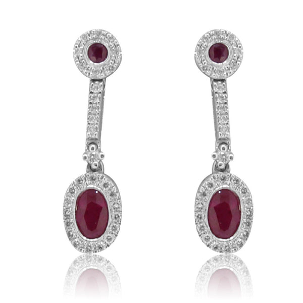 18kt White Gold Ruby and Diamond earrings - Masterpiece Jewellery Opal & Gems Sydney Australia | Online Shop