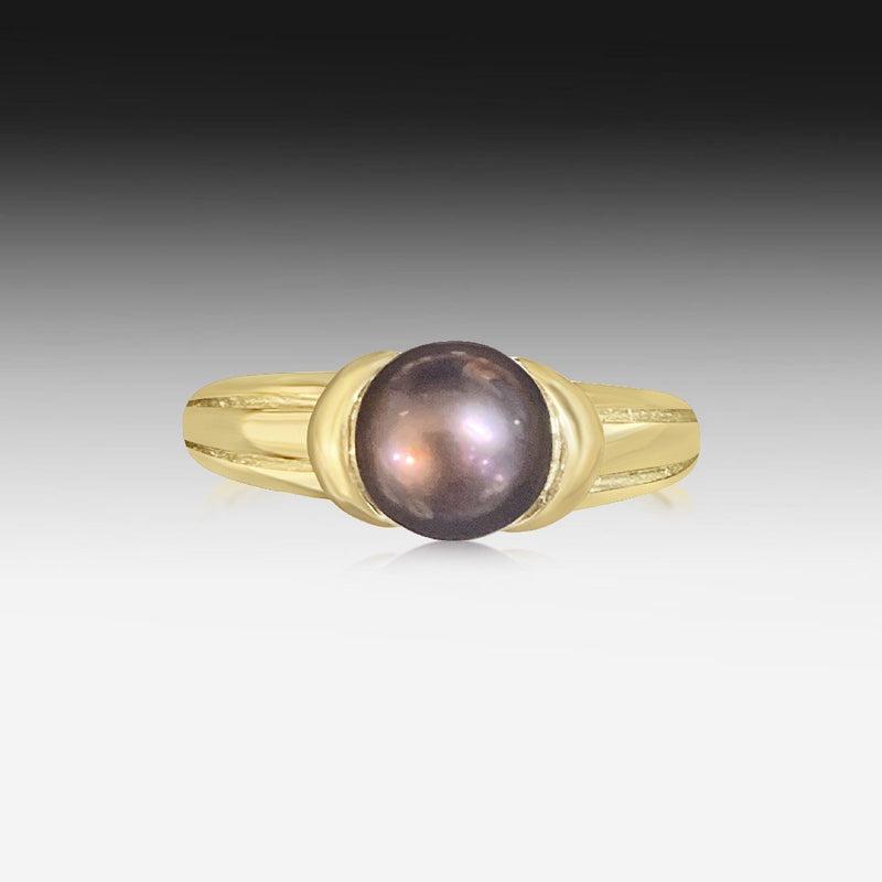 9kt Yellow Gold Black Pearl ring - Masterpiece Jewellery Opal & Gems Sydney Australia | Online Shop