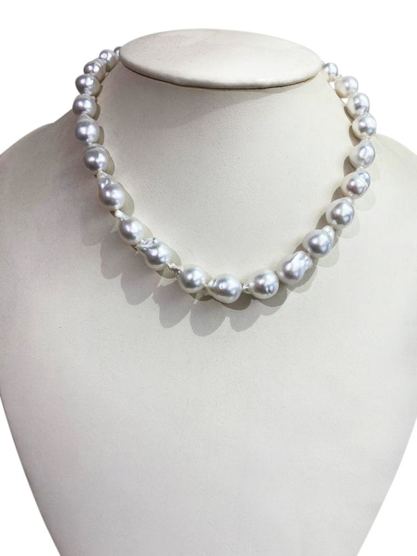 10-13mm Sliver South Sea Pearl Strand with 18kt gold clasp